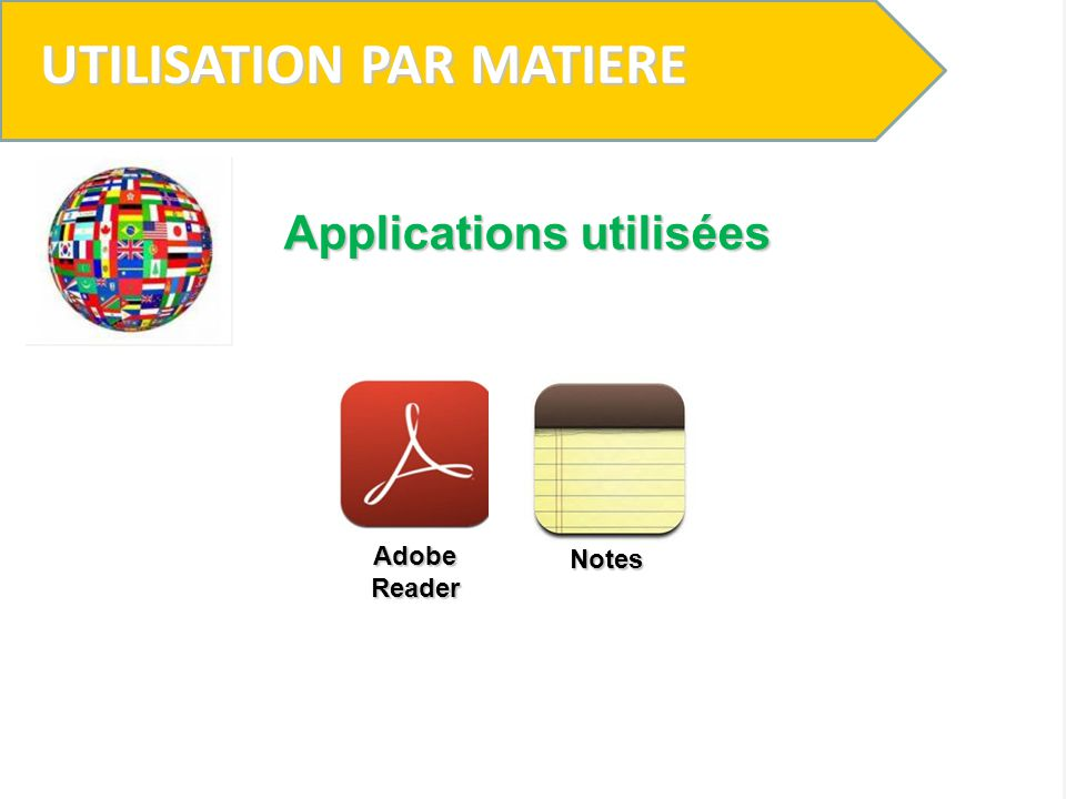 UTILISATION PAR MATIERE Applications utilisées Adobe Reader Notes