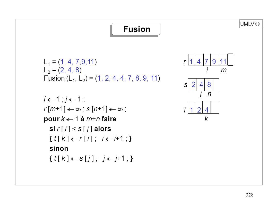 329 UMLV fonction TRI ( S : suite) : suite ; début si | S | 1 alors retour S ; sinon début (S 1, S 2 ) PARTAGE( S ) ; T 1 TRI(S 1 ) ; T 2 TRI(S 2 ) ; retour FUSION(T 1, T 2 ) ; fin Temps de calcul, si PARTAGE et FUSION linéaires :