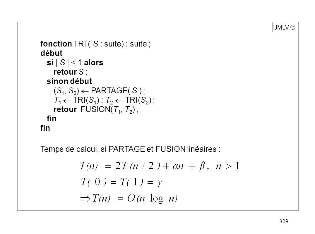 330 UMLV L fonction TRI (L : liste) : liste ; début si L = NULL ou L->suivant = NULL alors retour (L) sinon début P MILIEU (L) ; M P->suivant ; P->suivant NULL ; retour (FUSION(TRI(P),TRI(M)); fin Tri de listes chaînées