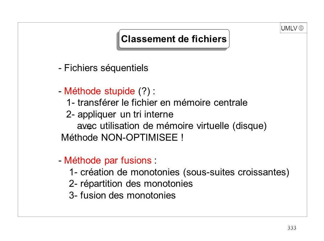 333 UMLV - Fichiers séquentiels - Méthode stupide (?) : 1- transférer le fichier en mémoire centrale 2- appliquer un tri interne avec utilisation de m