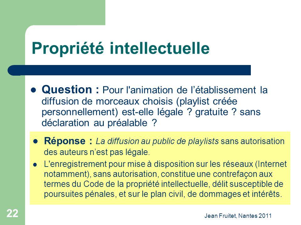 Jean Fruitet, Nantes 2011 22 Propriété intellectuelle Question : Pour l'animation de létablissement la diffusion de morceaux choisis (playlist créée p