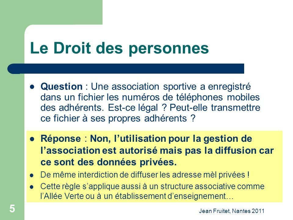 Jean Fruitet, Nantes 2011 5 Le Droit des personnes Question : Une association sportive a enregistré dans un fichier les numéros de téléphones mobiles