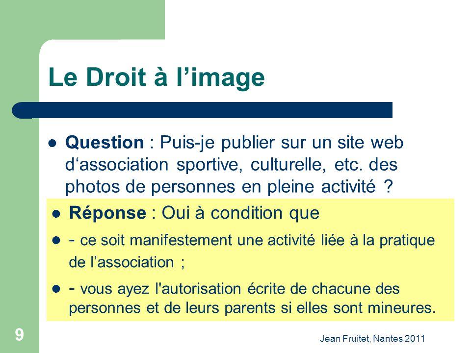 Jean Fruitet, Nantes 2011 9 Le Droit à limage Question : Puis-je publier sur un site web dassociation sportive, culturelle, etc. des photos de personn