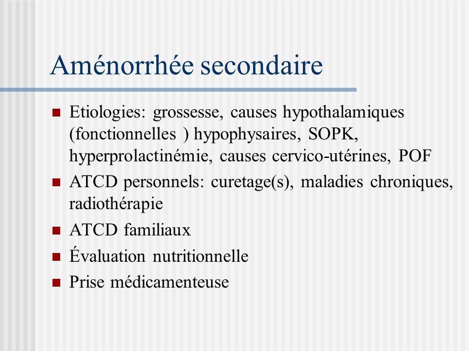 Examen clinique: BMI, signes dhyperandrogénie, galactorrhée Examens biologiques : bHCG, PRL, FSH, LH, estradiolémie, testostérone Echographie pelvienne