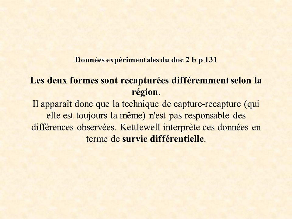 Données expérimentales du doc 2 b p 131 Les deux formes sont recapturées différemment selon la région. Il apparaît donc que la technique de capture-re