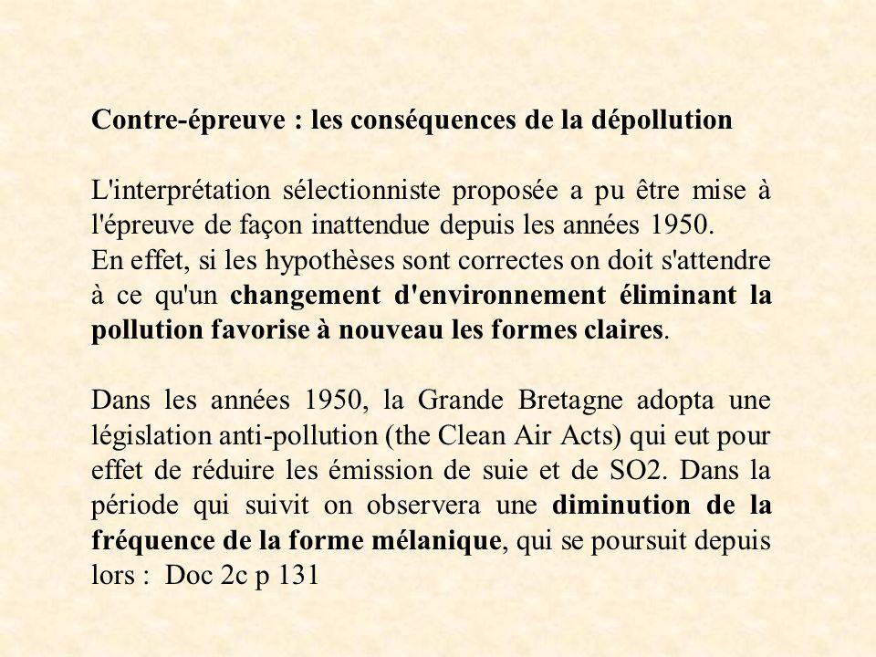 Contre-épreuve : les conséquences de la dépollution L'interprétation sélectionniste proposée a pu être mise à l'épreuve de façon inattendue depuis les