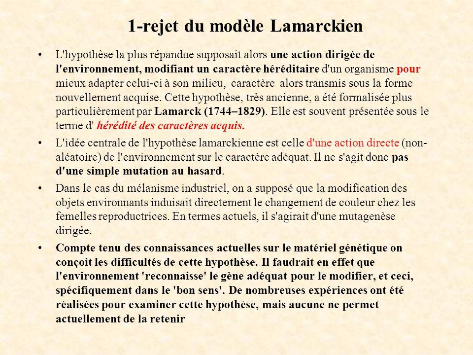 1-rejet du modèle Lamarckien L'hypothèse la plus répandue supposait alors une action dirigée de l'environnement, modifiant un caractère héréditaire d'