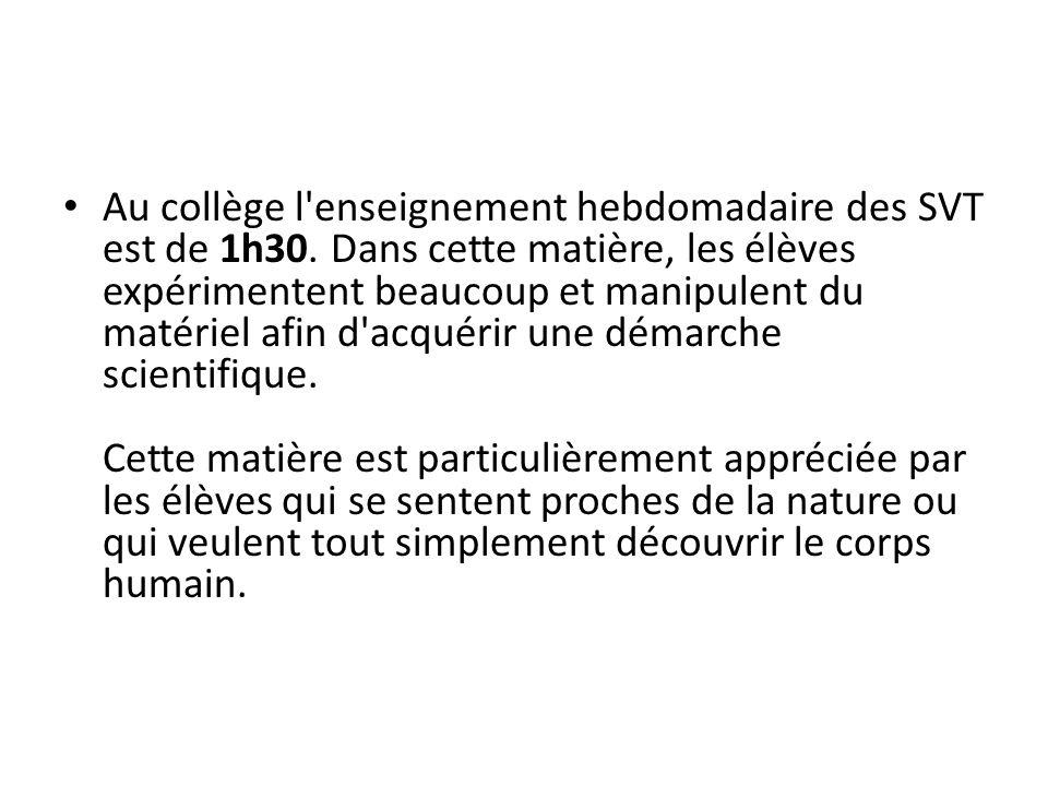 Objectifs L objectif des SVT au collège se veut triple : Donner une culture scientifique en Biologie et en Géologie.