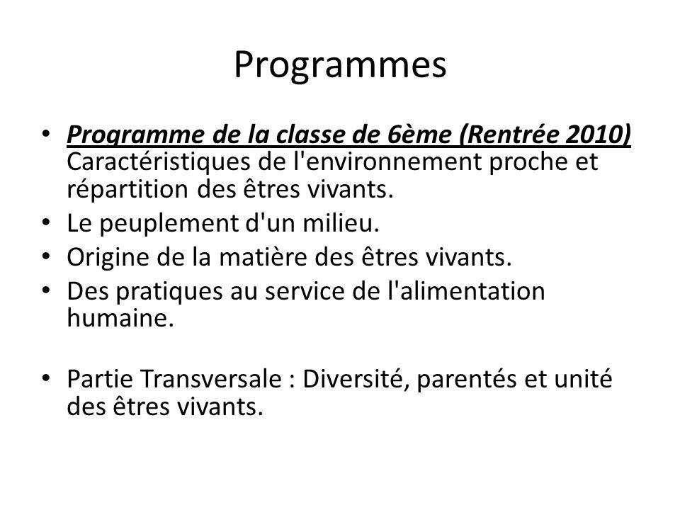 Programmes Programme de la classe de 6ème (Rentrée 2010) Caractéristiques de l'environnement proche et répartition des êtres vivants. Le peuplement d'