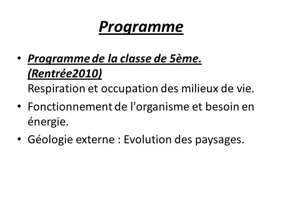 Programme Programme de la classe de 5ème. (Rentrée2010) Respiration et occupation des milieux de vie. Fonctionnement de l'organisme et besoin en énerg