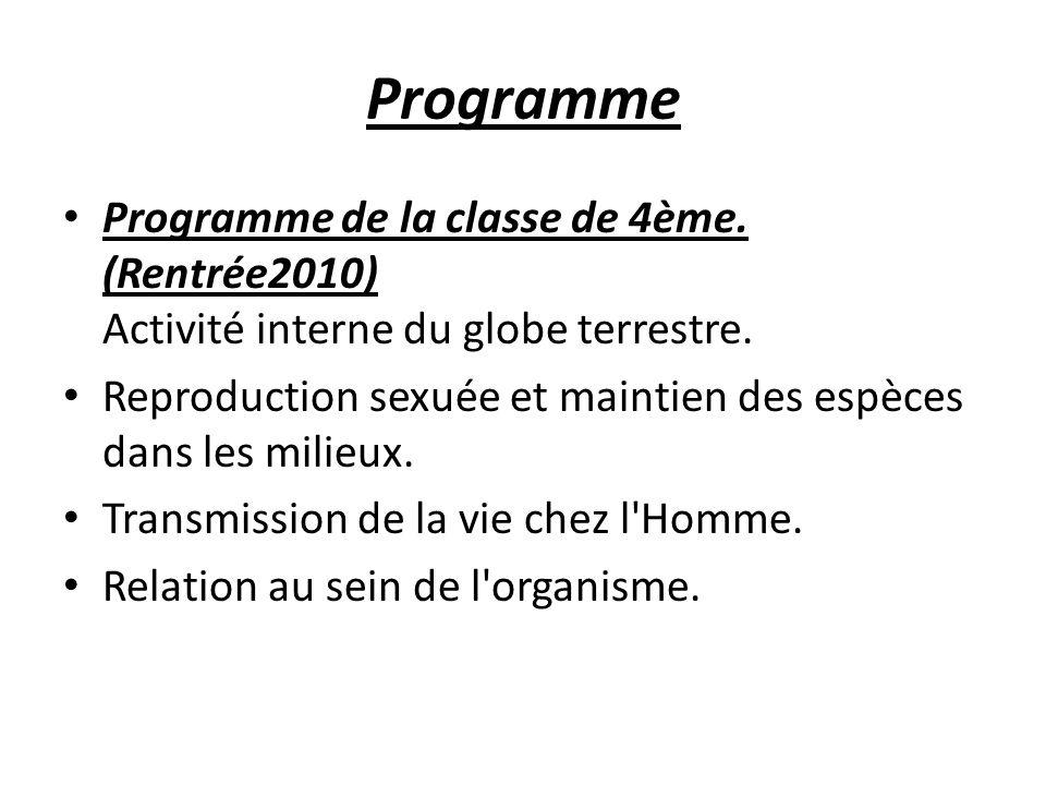 Programme Programme de la classe de 4ème. (Rentrée2010) Activité interne du globe terrestre. Reproduction sexuée et maintien des espèces dans les mili