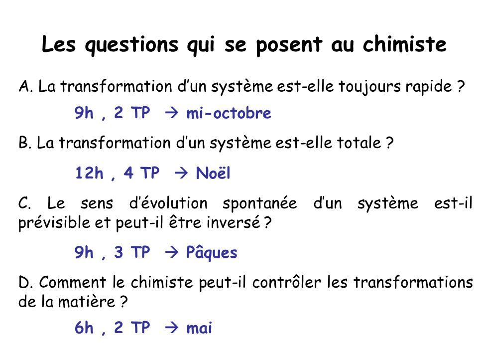 C. Le sens dévolution spontanée dun système est-il prévisible et peut-il être inversé ? B. La transformation dun système est-elle totale ? A. La trans