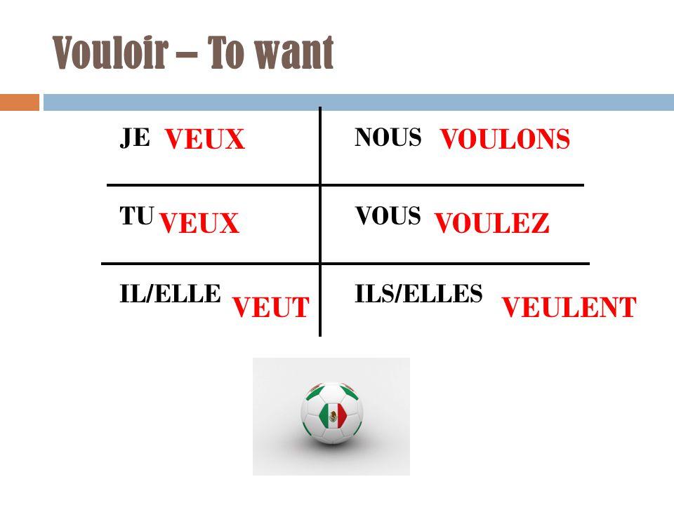 Vouloir – To want JE NOUS TU VOUS IL/ELLE ILS/ELLES VEUX VEUT VEUX VOULONS VOULEZ VEULENT