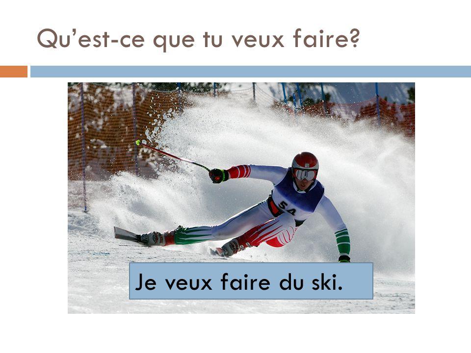 Quest-ce que tu veux faire? Je veux faire du ski.