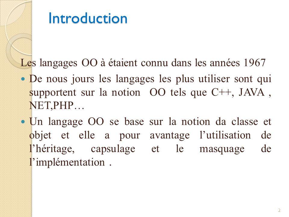 Introduction Les langages OO à étaient connu dans les années 1967 De nous jours les langages les plus utiliser sont qui supportent sur la notion OO te