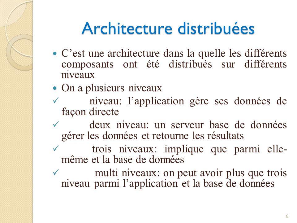 Architecture distribuées Cest une architecture dans la quelle les différents composants ont été distribués sur différents niveaux On a plusieurs niveaux niveau: lapplication gère ses données de façon directe deux niveau: un serveur base de données gérer les données et retourne les résultats trois niveaux: implique que parmi elle- même et la base de données multi niveaux: on peut avoir plus que trois niveau parmi lapplication et la base de données 6