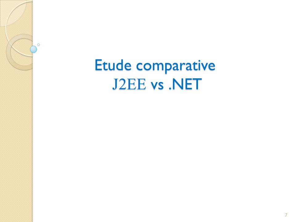 Couche représentation J2EE.NET Possède les API standard java servlet et java server page Le client lourd utilise les librairies swing et Awt Les plateformes possèdent des systèmes daffichage vidéo déférent il est possible dutilise JSP sans strut Les ASP.NET reprisent équivalent des JSP avec un model de développement totalement intégré sur les WebForms Il est possible dutiliser ASP.NET sans WebForms 8