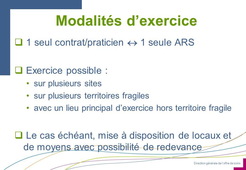 Direction générale de loffre de soins Modalités dexercice 1 seul contrat/praticien 1 seule ARS Exercice possible : sur plusieurs sites sur plusieurs t