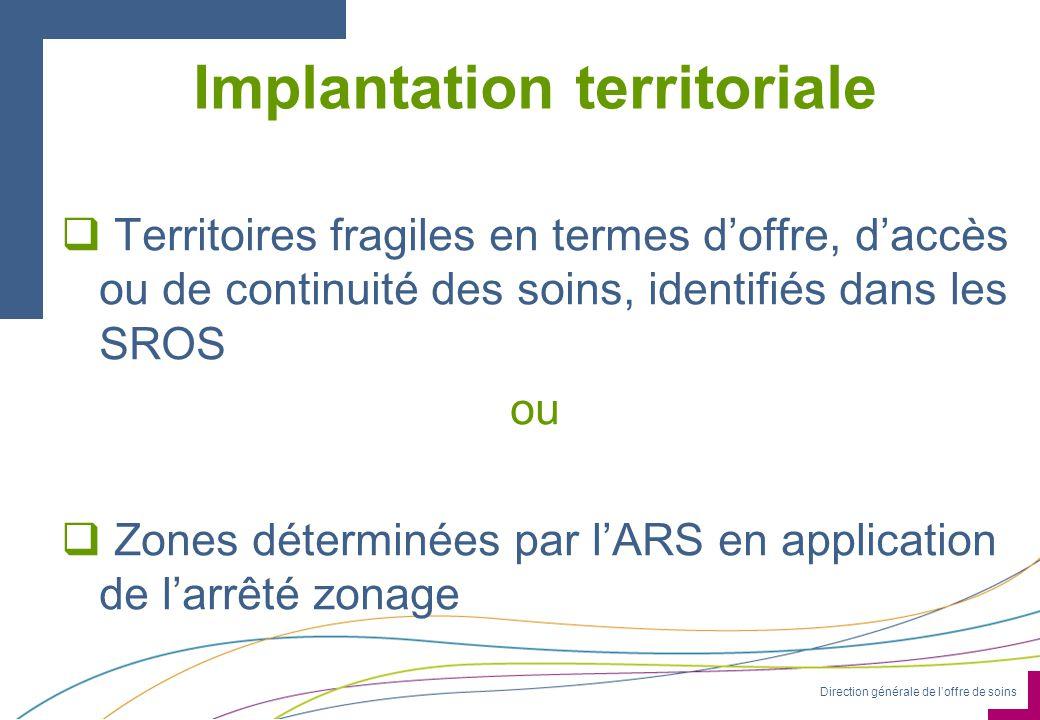Direction générale de loffre de soins Implantation territoriale Territoires fragiles en termes doffre, daccès ou de continuité des soins, identifiés d
