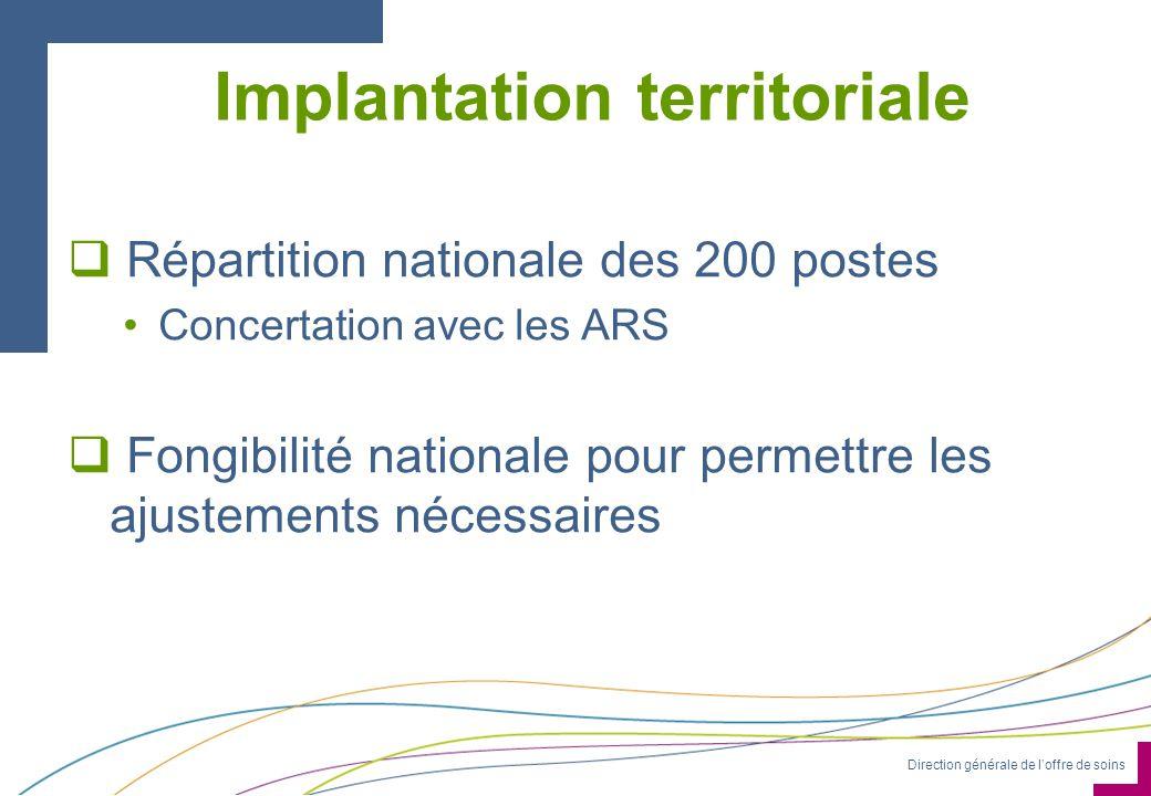 Direction générale de loffre de soins Implantation territoriale Répartition nationale des 200 postes Concertation avec les ARS Fongibilité nationale p