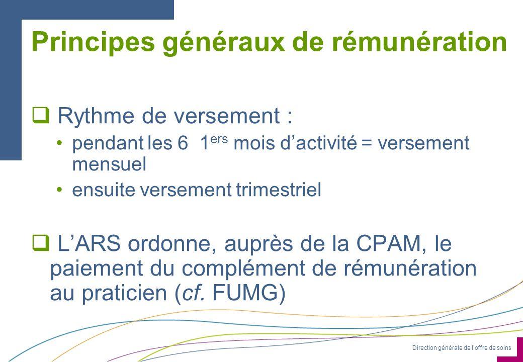 Direction générale de loffre de soins Principes généraux de rémunération Rythme de versement : pendant les 6 1 ers mois dactivité = versement mensuel