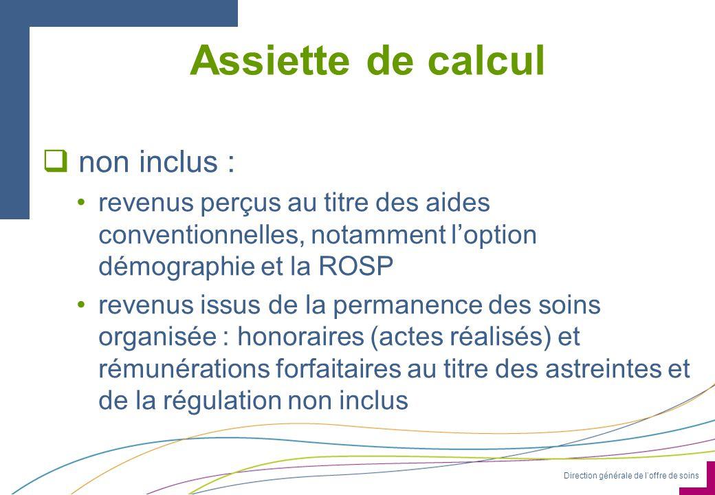 Direction générale de loffre de soins Assiette de calcul non inclus : revenus perçus au titre des aides conventionnelles, notamment loption démographi
