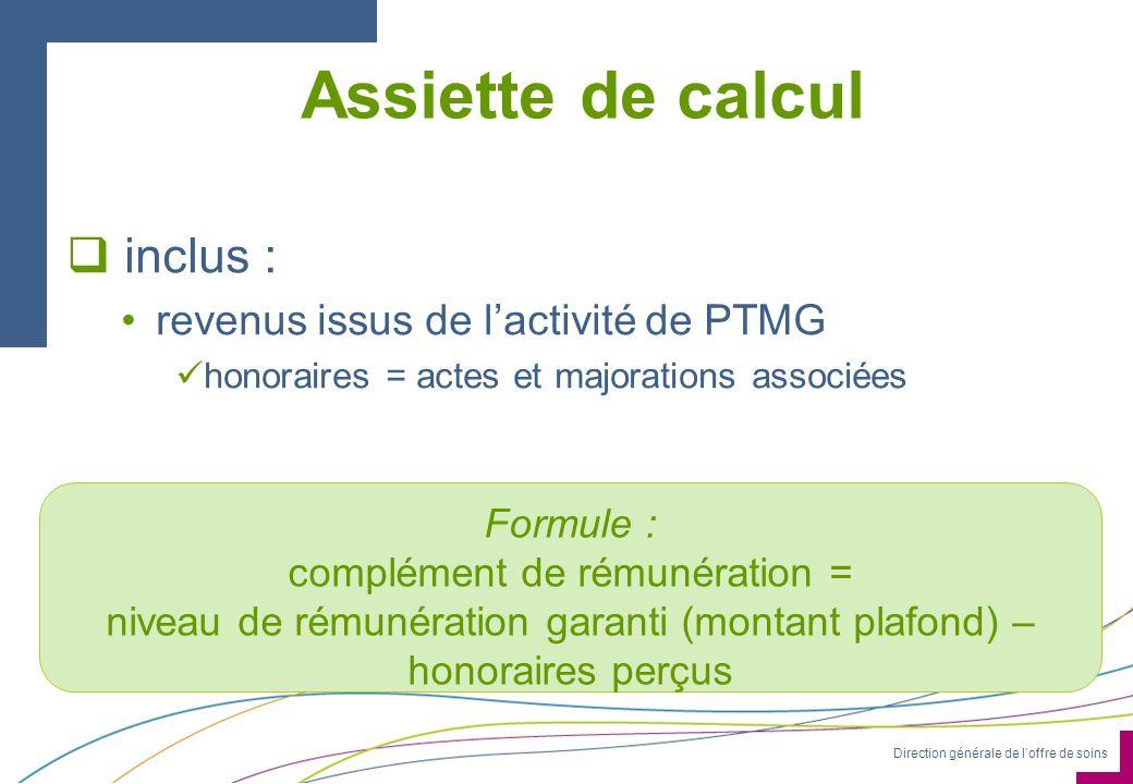 Direction générale de loffre de soins Assiette de calcul inclus : revenus issus de lactivité de PTMG honoraires = actes et majorations associées. Form