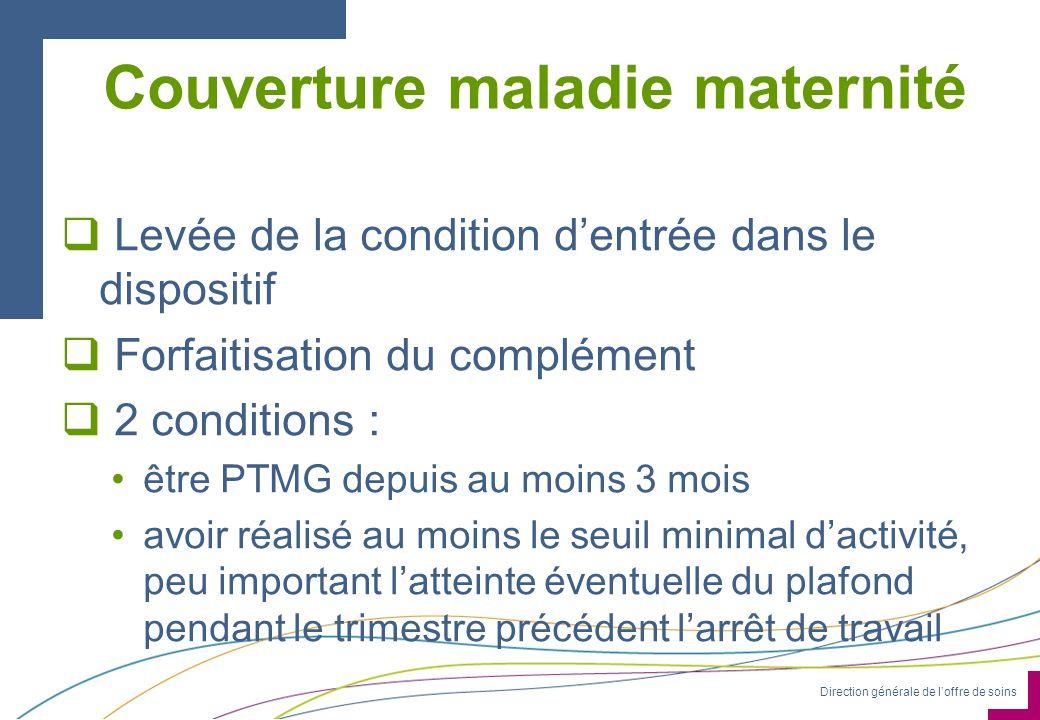 Direction générale de loffre de soins Couverture maladie maternité Levée de la condition dentrée dans le dispositif Forfaitisation du complément 2 con
