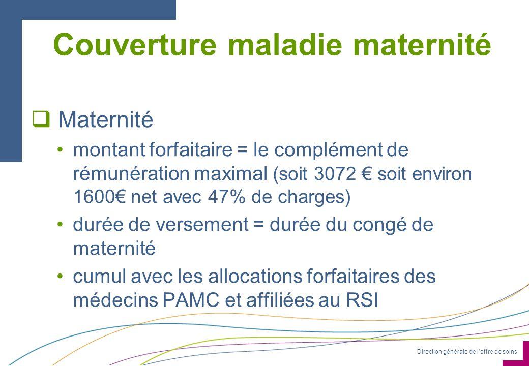 Direction générale de loffre de soins Couverture maladie maternité Maternité montant forfaitaire = le complément de rémunération maximal (soit 3072 so