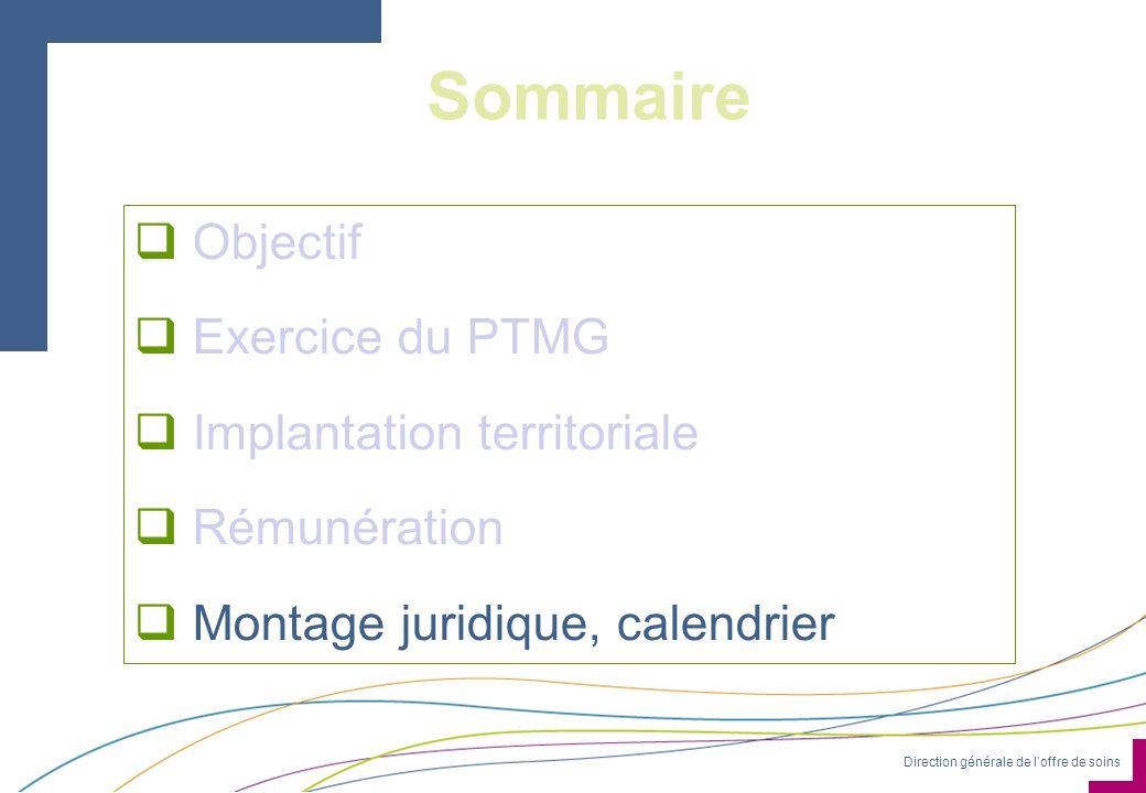 Direction générale de loffre de soins Sommaire Objectif Exercice du PTMG Implantation territoriale Rémunération Montage juridique, calendrier