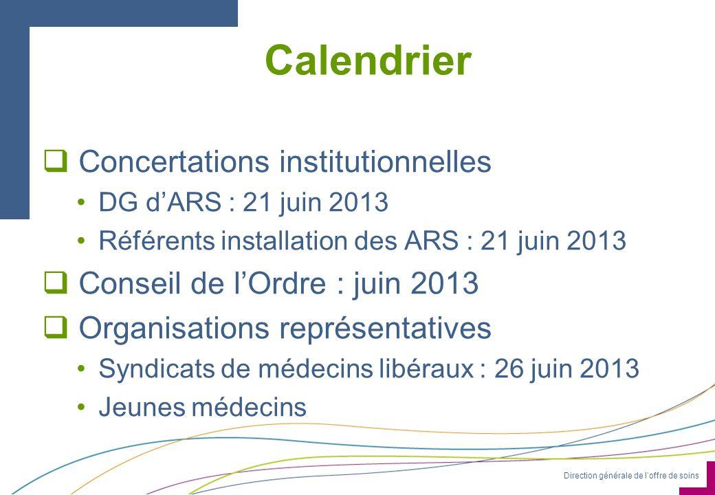 Direction générale de loffre de soins Calendrier Concertations institutionnelles DG dARS : 21 juin 2013 Référents installation des ARS : 21 juin 2013