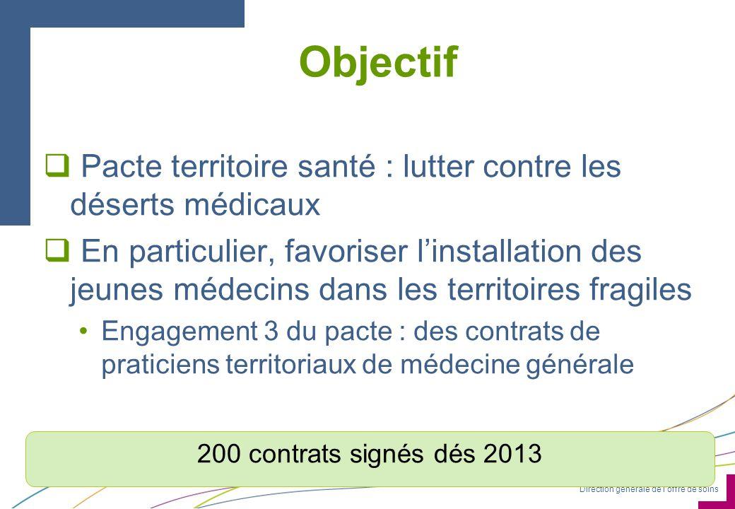 Direction générale de loffre de soins Objectif Pacte territoire santé : lutter contre les déserts médicaux En particulier, favoriser linstallation des
