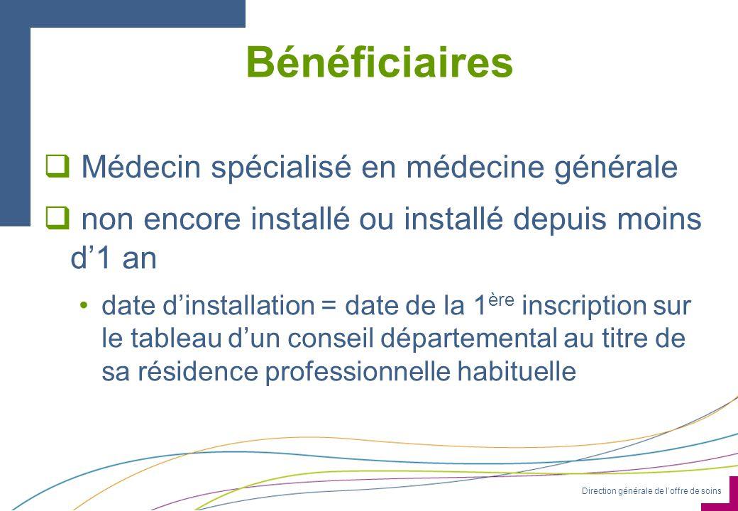 Direction générale de loffre de soins Bénéficiaires Médecin spécialisé en médecine générale non encore installé ou installé depuis moins d1 an date di