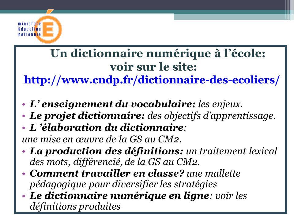 Un dictionnaire numérique à lécole: voir sur le site: http://www.cndp.fr/dictionnaire-des-ecoliers/ L enseignement du vocabulaire: les enjeux. Le proj