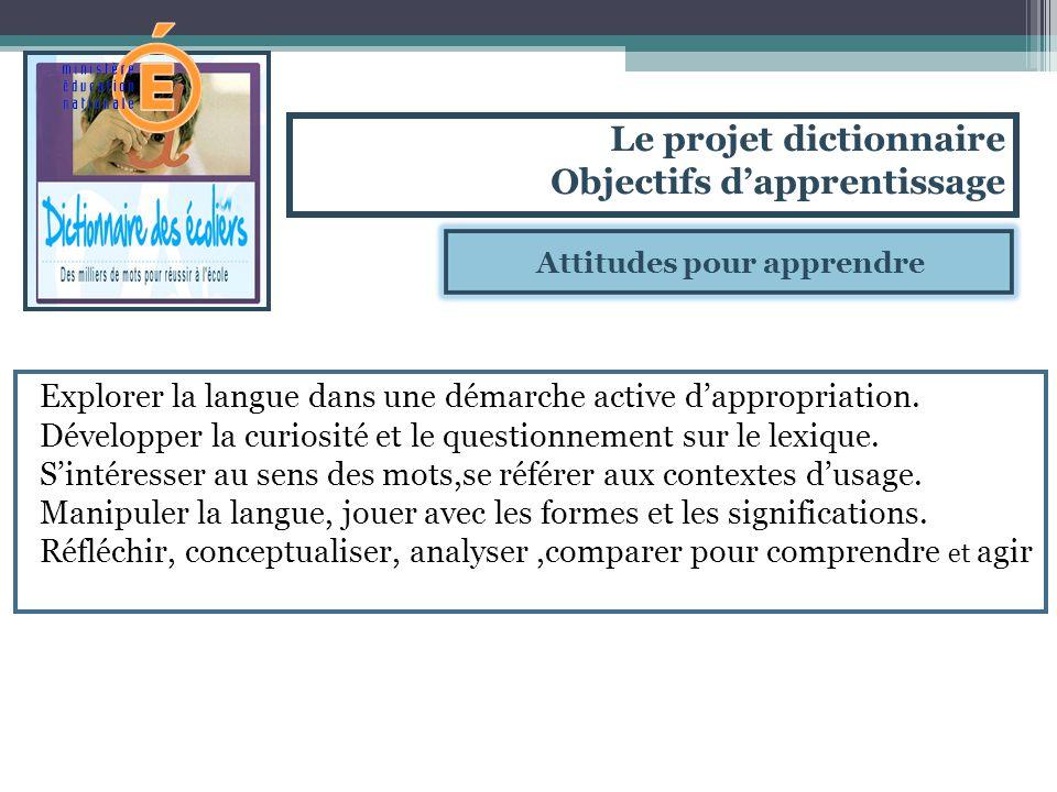 Attitudes pour apprendre Explorer la langue dans une démarche active dappropriation. Développer la curiosité et le questionnement sur le lexique. Sint
