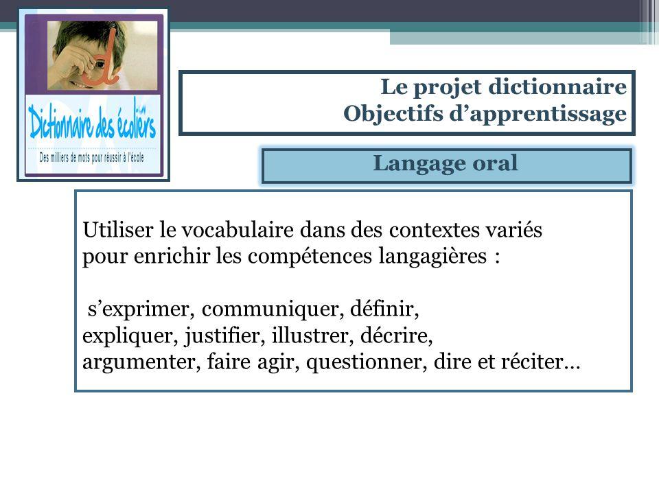 Langage oral Utiliser le vocabulaire dans des contextes variés pour enrichir les compétences langagières : sexprimer, communiquer, définir, expliquer,