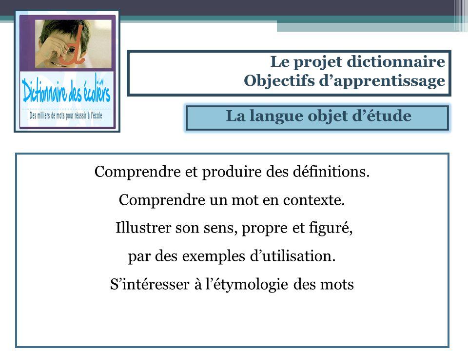 La langue objet détude Comprendre et produire des définitions. Comprendre un mot en contexte. Illustrer son sens, propre et figuré, par des exemples d