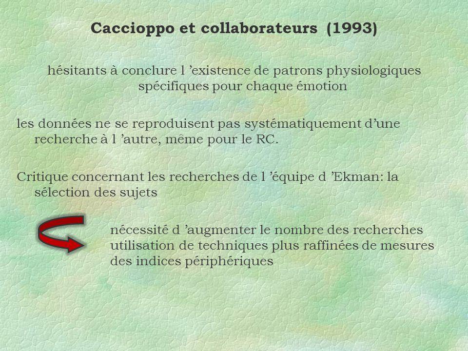 Caccioppo et collaborateurs (1993) hésitants à conclure l existence de patrons physiologiques spécifiques pour chaque émotion les données ne se reproduisent pas systématiquement dune recherche à l autre, même pour le RC.