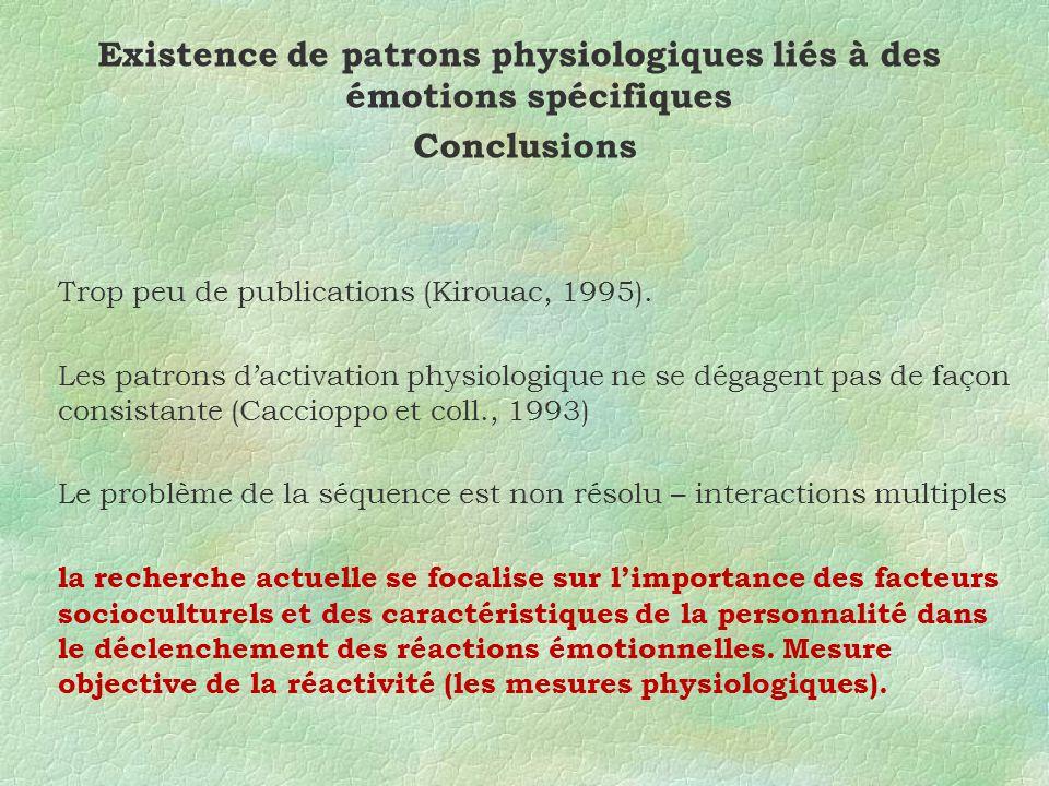 Existence de patrons physiologiques liés à des émotions spécifiques Conclusions Trop peu de publications (Kirouac, 1995).