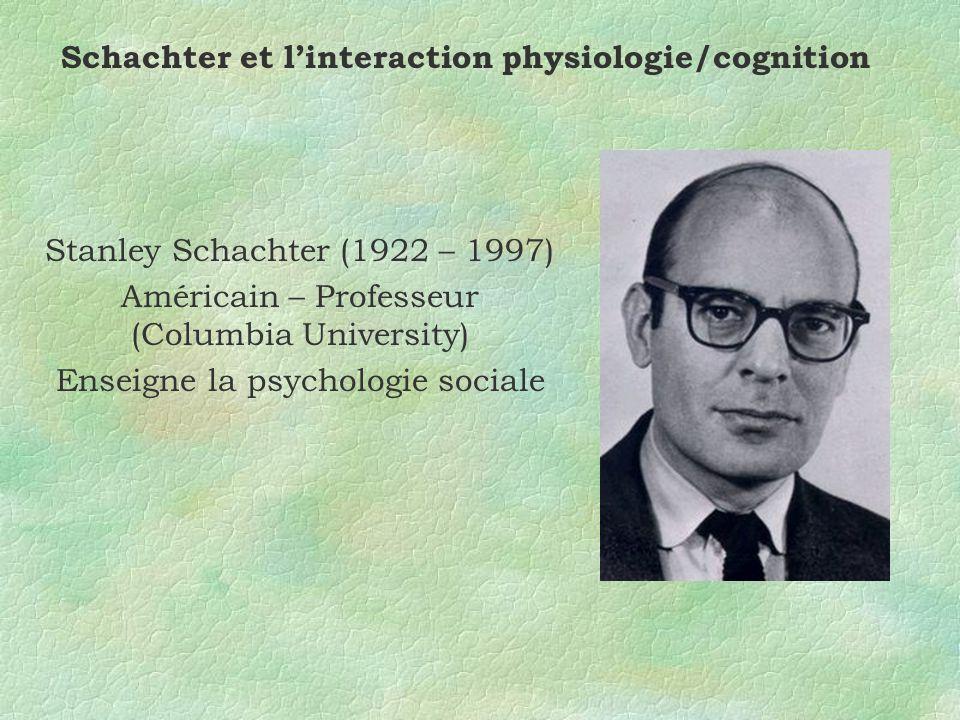 Schachter et linteraction physiologie/cognition Stanley Schachter (1922 – 1997) Américain – Professeur (Columbia University) Enseigne la psychologie sociale