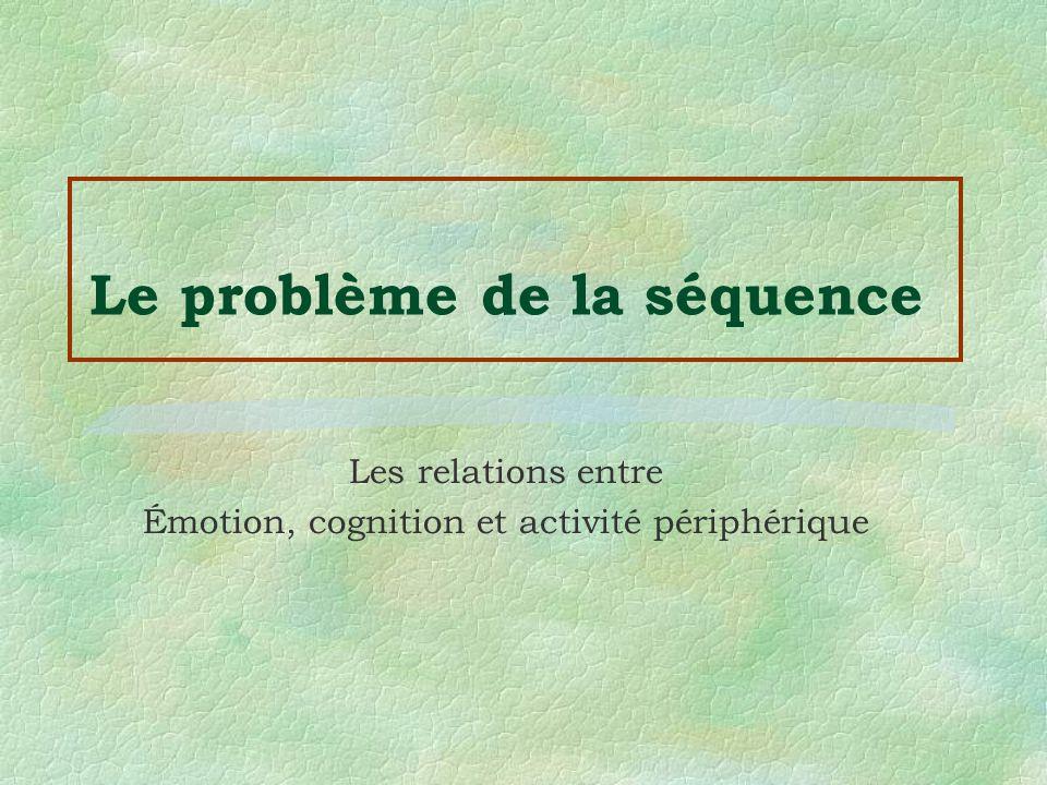 Le problème de la séquence Les relations entre Émotion, cognition et activité périphérique