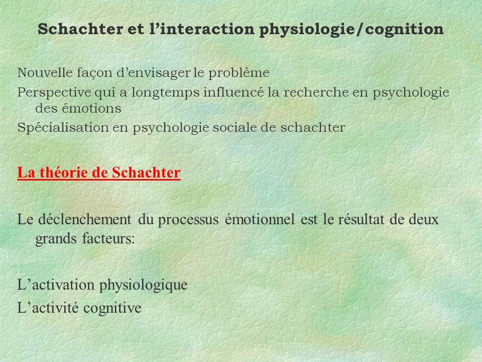 Schachter et linteraction physiologie/cognition Nouvelle façon denvisager le problème Perspective qui a longtemps influencé la recherche en psychologie des émotions Spécialisation en psychologie sociale de schachter La théorie de Schachter Le déclenchement du processus émotionnel est le résultat de deux grands facteurs: Lactivation physiologique Lactivité cognitive