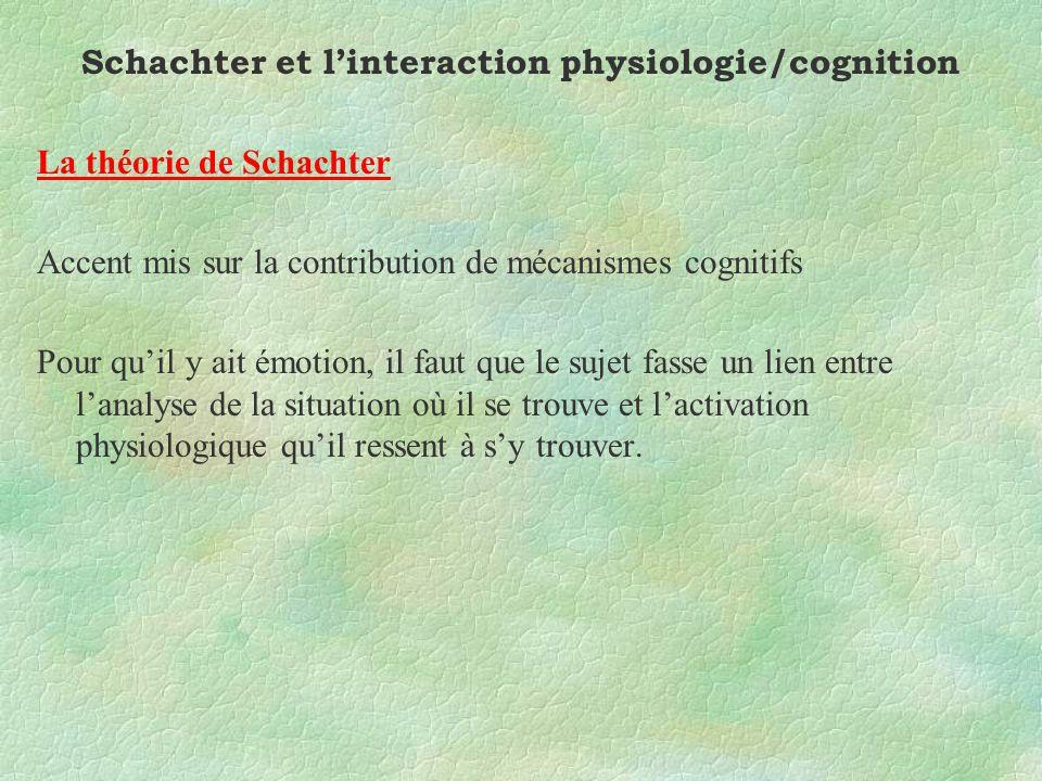 Schachter et linteraction physiologie/cognition La théorie de Schachter Accent mis sur la contribution de mécanismes cognitifs Pour quil y ait émotion, il faut que le sujet fasse un lien entre lanalyse de la situation où il se trouve et lactivation physiologique quil ressent à sy trouver.