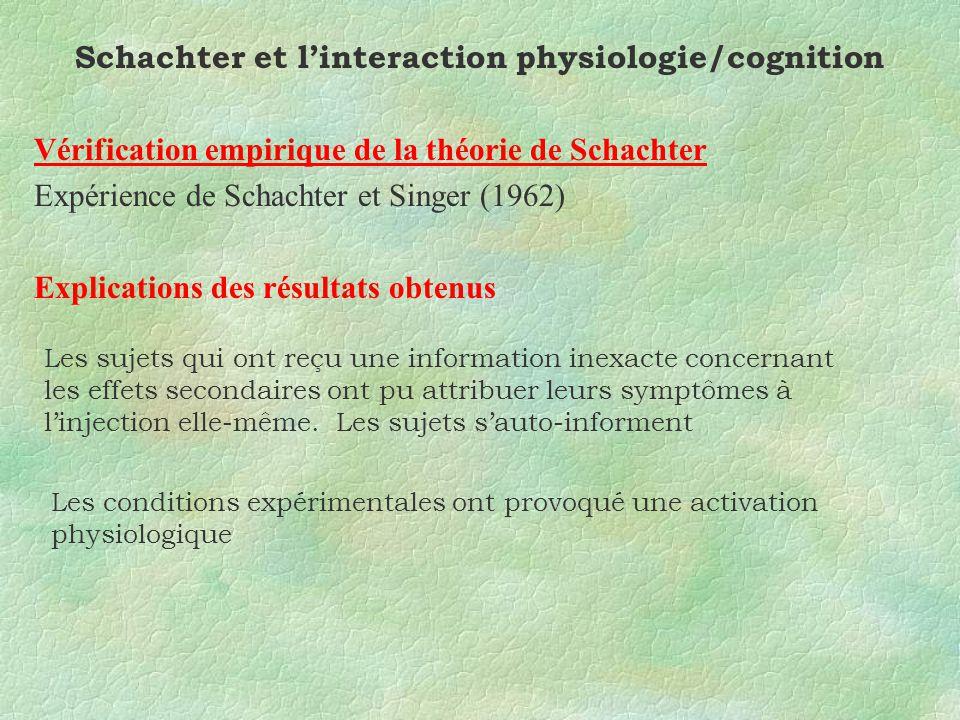 Schachter et linteraction physiologie/cognition Vérification empirique de la théorie de Schachter Expérience de Schachter et Singer (1962) Explications des résultats obtenus Les sujets qui ont reçu une information inexacte concernant les effets secondaires ont pu attribuer leurs symptômes à linjection elle-même.