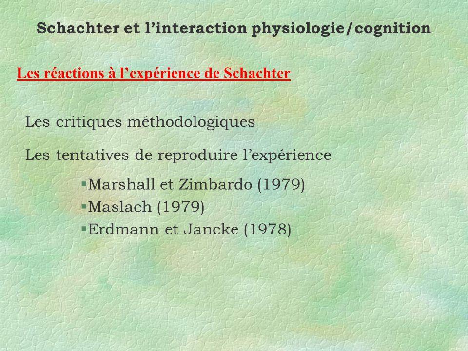 Schachter et linteraction physiologie/cognition Les réactions à lexpérience de Schachter Les critiques méthodologiques Les tentatives de reproduire lexpérience §Marshall et Zimbardo (1979) §Maslach (1979) §Erdmann et Jancke (1978)