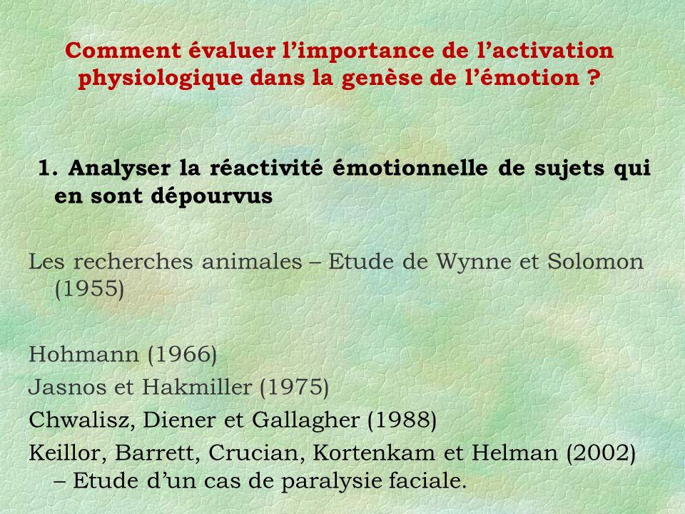 1. Analyser la réactivité émotionnelle de sujets qui en sont dépourvus Les recherches animales – Etude de Wynne et Solomon (1955) Hohmann (1966) Jasno