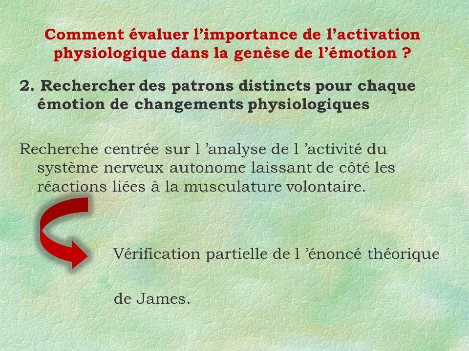 2. Rechercher des patrons distincts pour chaque émotion de changements physiologiques Recherche centrée sur l analyse de l activité du système nerveux