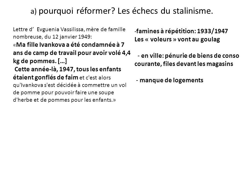 a) pourquoi réformer? Les échecs du stalinisme. Lettre d Evguenia Vassilissa, mère de famille nombreuse, du 12 janvier 1949: « Ma fille Ivankova a été