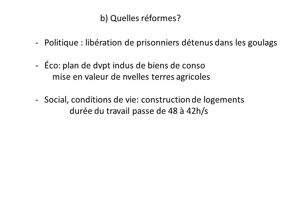 b) Quelles réformes? -Politique : libération de prisonniers détenus dans les goulags -Éco: plan de dvpt indus de biens de conso mise en valeur de nvel