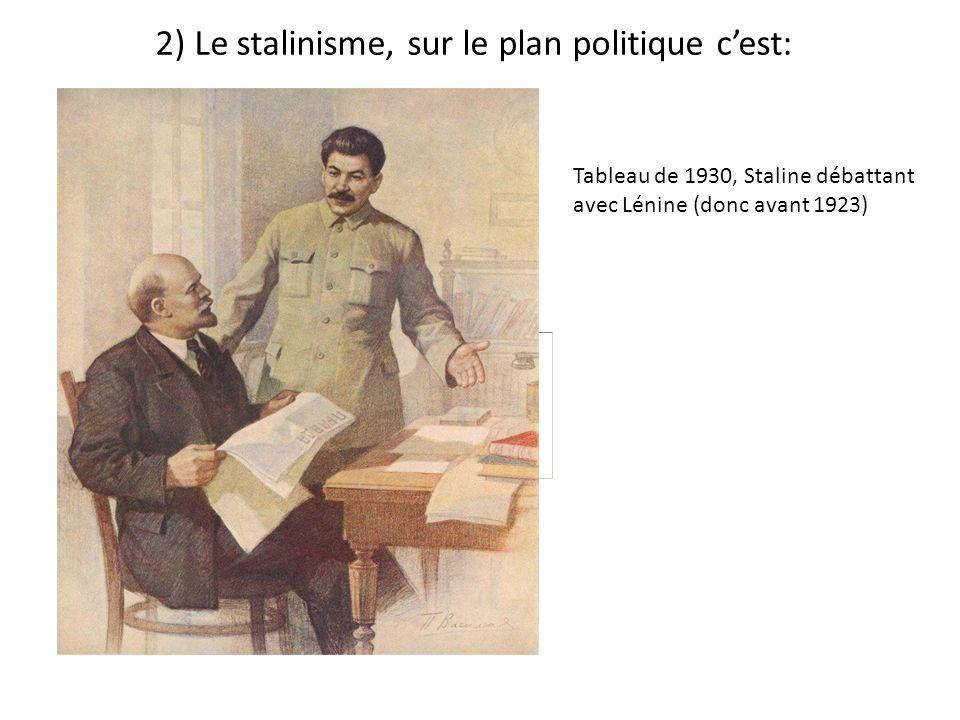 - se présenter comme lhéritier de la politique de Lénine, comme son successeur (faux, Lénine na pas choisi Staline dont il se méfie: caractère trop violent) - avoir éliminé dès les années 30, les rivaux, les opposants à son pouvoir au sein du Parti communiste et de larmée.